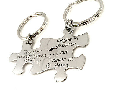 Custom Handstamped Puzzle Piece Keychain's - Together Forever Couple's Keychain