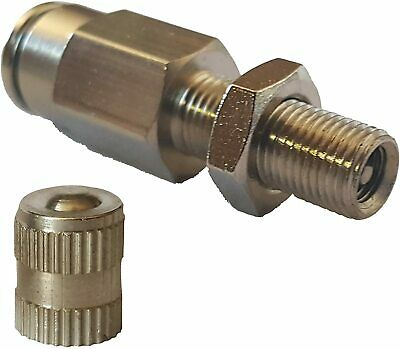 Schrader 1/4 OD Airline Push To Connect In Line Inflation Valve