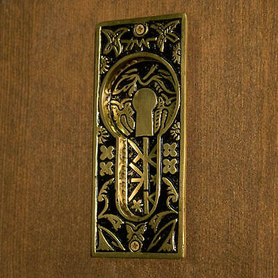 Signature Hardware Butterfly Recessed Pocket Door Flush Pull in Blackened Brass