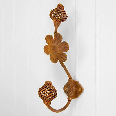 Signature Hardware Spiral Cone Hand Forged Double Coat Hook with Flower Rust