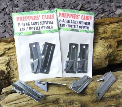 2x  GENUINE SHELBY P-51 SURVIVAL CAN / TIN / BOTTLE OPENER Bushcraft Camping