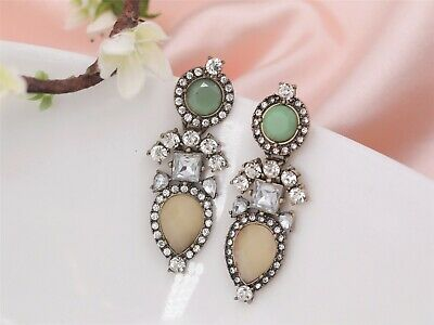 Costume Fashion Earrings Studs Art Deco Green Beige Tear Drop Vintage Gold A1