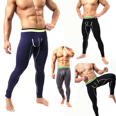 Mens Jogger Pants Compression Base Layer Tight Skin Long Johns Pants Sportwear