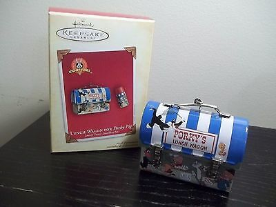 2004 Hallmark CHRISTMAS ORNAMENT SET LUNCH WAGON FOR PORKY PIG LOONEY TUNES NIB