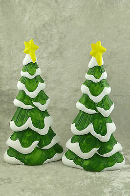 "2 Dept 56 Porcelain Christmas Trees with Snow & Star 8"" Great for Village Putz"