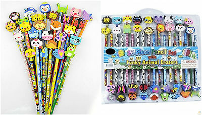 36pcs PIECE PENCIL SET with Funky Animal Erasers Children's Kids Stationary Set