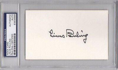 LINUS PAULING SIGNED AUTOGRAPHED 3x5 INDEX CARD NOBEL PEACE PRIZE RARE PSA/DNA