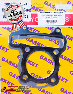 Gasket Head & Base Set 52mm GY6 50 139QMB 125 Big Bore ~ US Seller