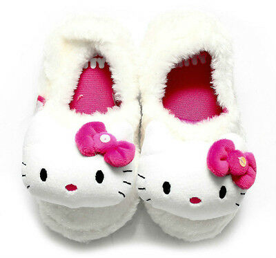 Kids Girls Pink Sparkly White Indoor Slippers Mist 3D Hello Kitty Slipper
