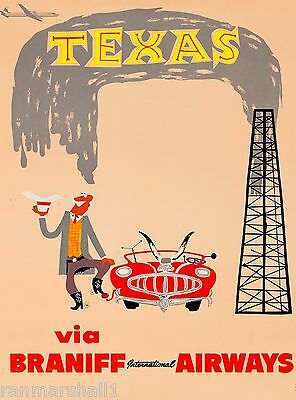 Texas Oil Well Vintage United States America Travel Advertisement Art Poster