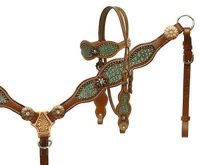 Showman Alligator print inlay headstall and breast collar set! NEW HORSE TACK!