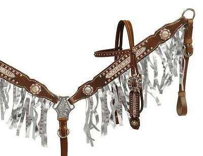 Showman Crystal rhinestone Cowgirl Up fringe headstall and breast collar set!