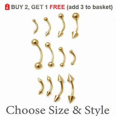 GOLD Curved Barbell Eyebrow Bar Banana Anodized Surgical Steel 16G 14G Ball Cone