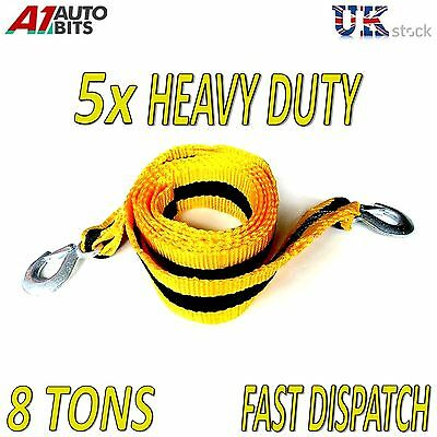 5 x 8 TONNE 8T 8000kg 3M Tow Towing Pull Rope Strap Heavy Duty Road Recovery bag