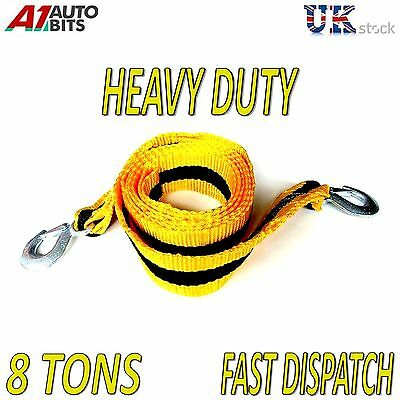 8000kg 8T 3M Tow Towing Pull Rope Strap Heavy Duty Road Recovery Car Van +bag