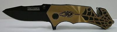 TAC FORCE Spring Assisted GOLD Spider WEB Tactical Rescue Pocket Knife AO TF553C