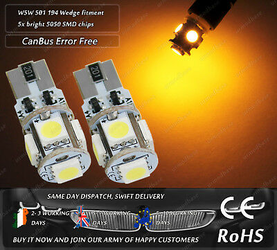 2x CanBus LED No Error HID Amber T10 w5w 501 Wedge Side Repeaters Indicator Bulb