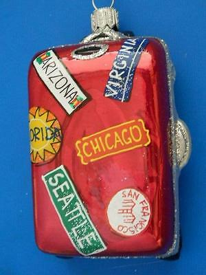 Chicago Seattle Fl Va Suitcase Luggage European Glass Christmas Ornament