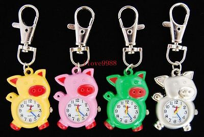 Bulk Lots 10 pcs colurful Little Pig colurful Key Ring Watches Xmas gifts USF25