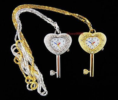 wholesale 10 pcs Heart Key style Necklace pendant Watches Xmas gifts USF24