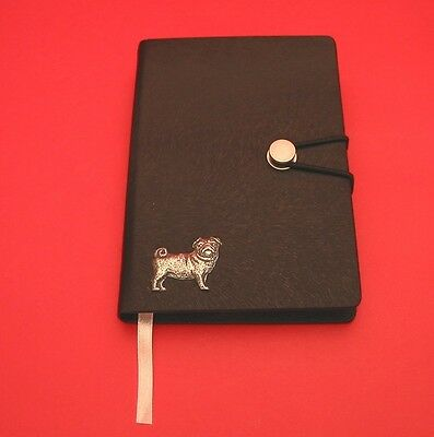 Pug Dog Motif A6 Black Soft Touch Journal NEW Father Mothers Useful Pug Gift