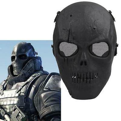 Tactical Airsoft Military Skeleton SKULL Mask Full Face Safety Protection BLACK