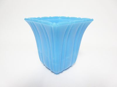 Seldom Seen Bright Turquoise Akro Agate Square Mouth Jardiniere / 2 Available