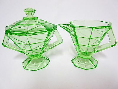 Rare Green Cracked Ice Creamer, Sugar & Lid Set / Indiana Glass Co