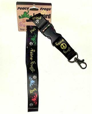 Colorful Peace Frogs Black Break-away Lanyard Keychain Badge Holder Ships Free