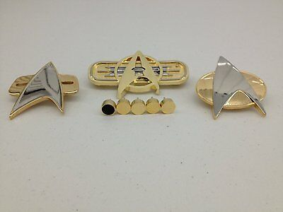 ULTIMATE Star Trek TNG, DS9, MOVIE CHEST Communicator Pins and Ranking TNG PIPS