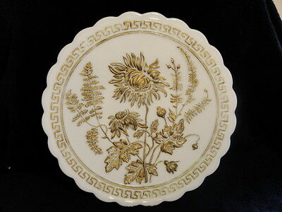 Decorated White Milk Glass Imperial IG Cake Plate Hand Painted Chyrsanthemum