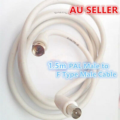 1.5m TV Antenna Flylead Cable Male PAL to F Type Connector