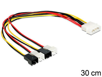 Delock Cable power Molex 4 pin male > 4 x 2 pin fan power up to 4 fans 30 cm
