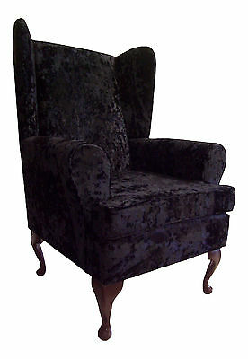 Wing Back Chair Soft Crushed Velvet Fabric on Queen Anne Style Legs