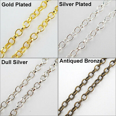 New Thickness 4mm Round Rings Chains Fit Making Necklace 5M