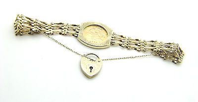 9ct Gate Bracelet & 22ct Yellow Gold Elizabeth II Half Sovereign Coin Dated 1982