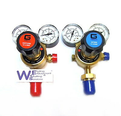 Pair of Oxygen and Acetylene Single Stage 2 Gauge Regulator for Gas cylinders