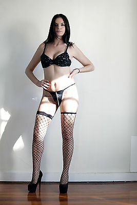 Black Fishnet Lace Top Thigh High Stockings * One Size