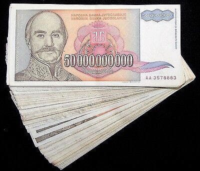 50 x Yugoslavia 50 Billion Dinara banknotes /circulated currency bundle