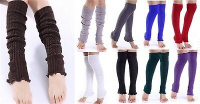 Ribbed Pair Solid Elastic Fashion Women Ladies Long Knitted Anckle Leg Warmers
