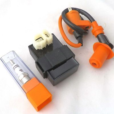 GY6 150cc Gas Scooters DC CDI Box Performance Ignition Coil Spark Plug Moped