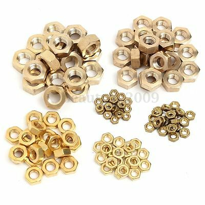 20PCs Brass Washer Hex Hexagon Half Nuts For Metric Bolts Screw M4/5/6/8/10/12