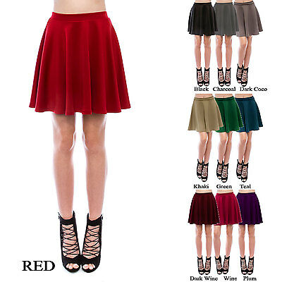 Womens Basic Versatile Stretchy Flared Skater Skirt (Size: XS - 3X)-Made in USA