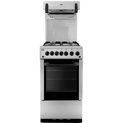 Beko BA52NEW 50cm High Level Gas Cooker with 4 Burners and Timer in Silver