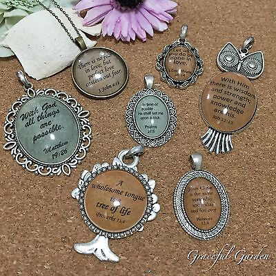 NL0424 Graceful Garden Vintage Style Handmade Bible Quotes Pendant Necklace