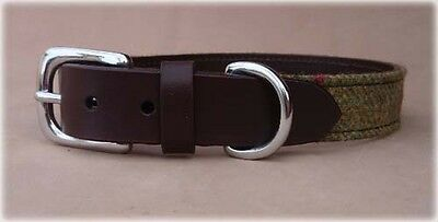 Islay Tweed and Luxury Leather Green Dog Collar in Large, Great Gift Idea Pets
