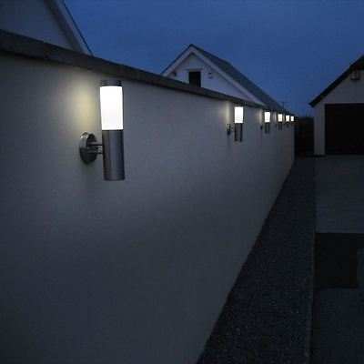 2 x Quality Solar Powered Stainless Steel Garden SMD LED Wall Light High Bright
