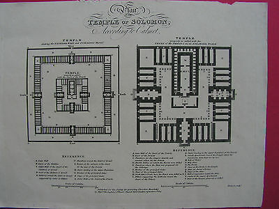 JUDAICA  PLAN OF THE TEMPLE OF SOLOMON original Kupferstich 1814