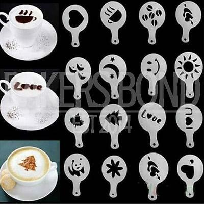 Set of 16 Barista Cappuccino Chocolate Stencil Templates Coffee Latte Duster