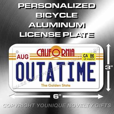 """Back To The Future OUTATIME Bicycle Toy Bike Scooter License Plate Tag 3""""x6"""""""